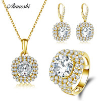 AINUOSHI 10K Solid Yellow Gold Jewelry Set Cushion Cut Square Pendant Ring Drop Earring Engagement Wedding Lovers Jewelry Set