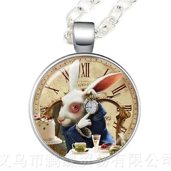 Alice In Wonderland Necklace A Mad Tea Party Mad Hatter March Hare Fairy Tale Pendant Hatter Print Glass Sweater chain Jewelry image