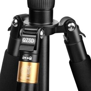 Image 4 - QZSD Q668 מקצועי אלומיניום מצלמה חצובה DSLR וידאו חדרגל להארכה נסיעות חצובה עם שחרור מהיר צלחת & כדור ראש