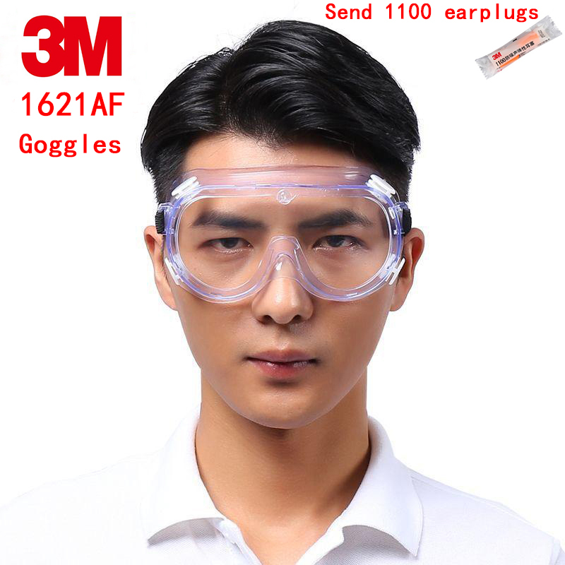 3M 1621AF Chemistry goggles Genuine security 3M safety glasses Anti-fog Anti-liquid splash Blocking 99% UV protective goggles недорго, оригинальная цена