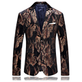 2017 Men's single breasted Italian style printed velveteen casual blazer men blazers  men's High quality suit jacket size M-4XL