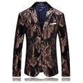 2017 hombres de un solo pecho de estilo Italiano de pana impresa chaqueta de traje casual chaqueta de los hombres blazers hombres de Alta calidad tamaño M-4XL
