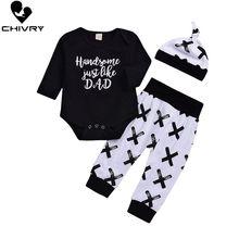 Chivry 3Pcs Newborn Baby Boy Cotton Long Sleeve Letter Bodysuit Romper + Pants Hats Outfits Infant Boys Clothing Sets