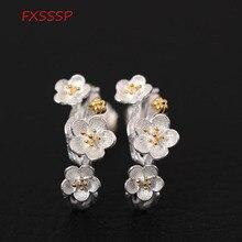 HFXSSSP S925 silver retro art plum earrings female models beautiful flowers ancient style temperament earrings jewelry цены онлайн