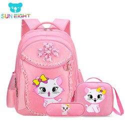 Солнечная восьмерка Сладкий кот девочки школьные сумки мультфильм шаблон детский рюкзак детский школьный рюкзак девочка сумка Mochila Escolar рю...