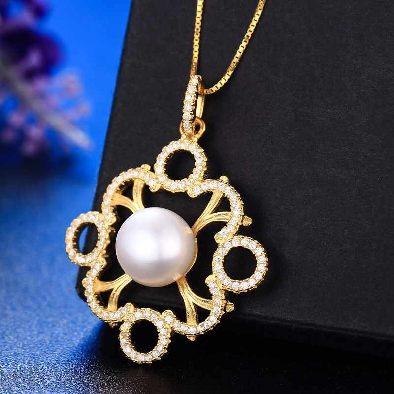 Dainashi 925 sterling sliver gold color Noble and elegant temperament real pearl pendants and pearls necklace fine jewelry
