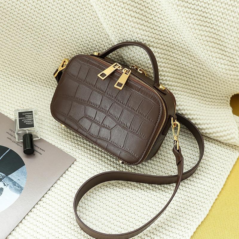 WOONAM Women Fashion Handbag Top Hide Genuine Calf Leather Alligator Crocodile Box Camera Shoulder Cross Body Bag WB849