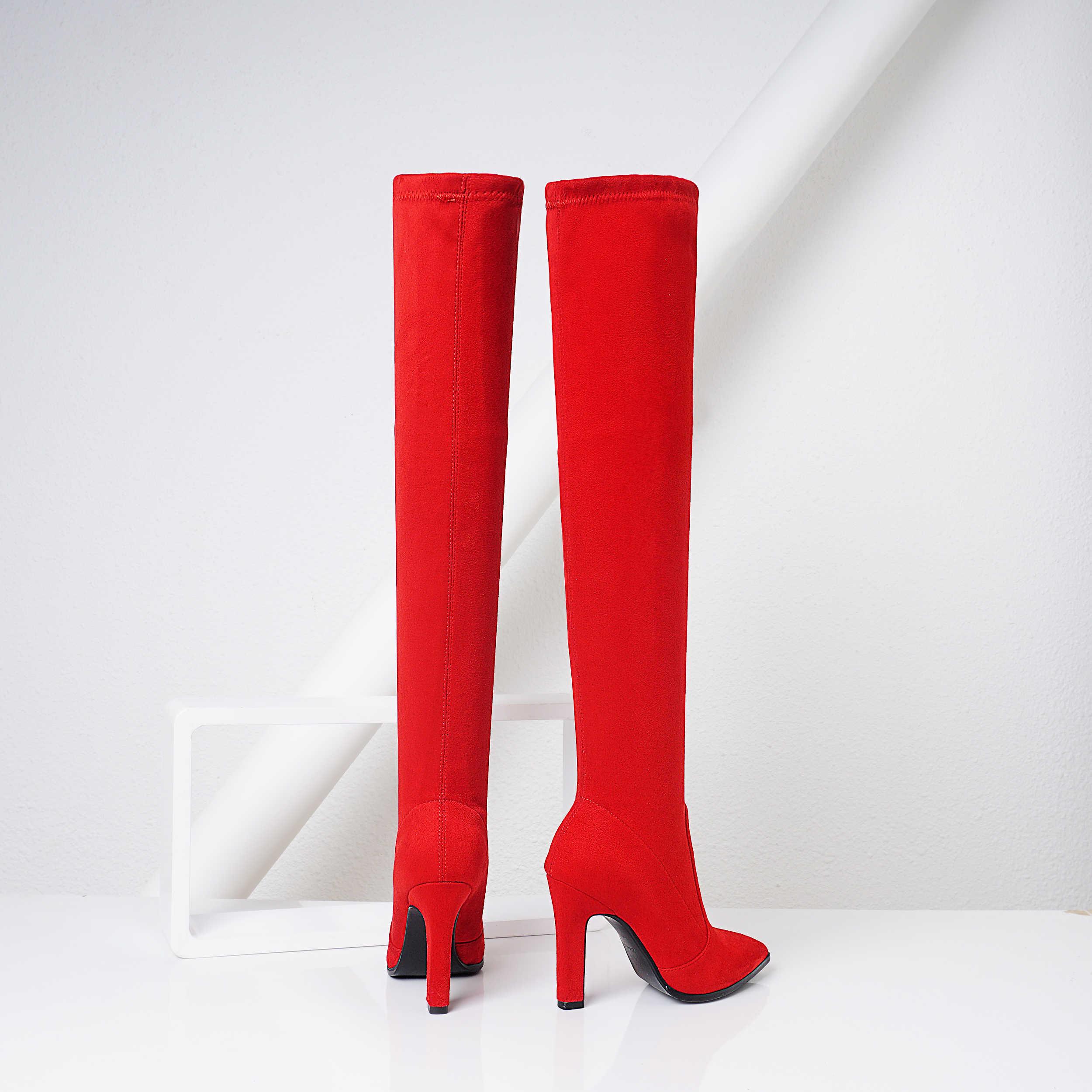 Czarne szare wino czerwone buty na obcasie buty do uda kobiety Sexy Pointed Toe Stretch Boors damskie buty na wysokim obcasie na buty do kolan zima