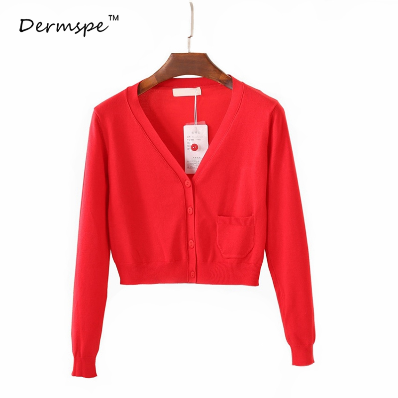 DERMSPE Women Cardigan Sweaters Knit Long-sleeve Female Cardigan Women Pull Femme Gilet Femme Manche Longue Short Cardigan