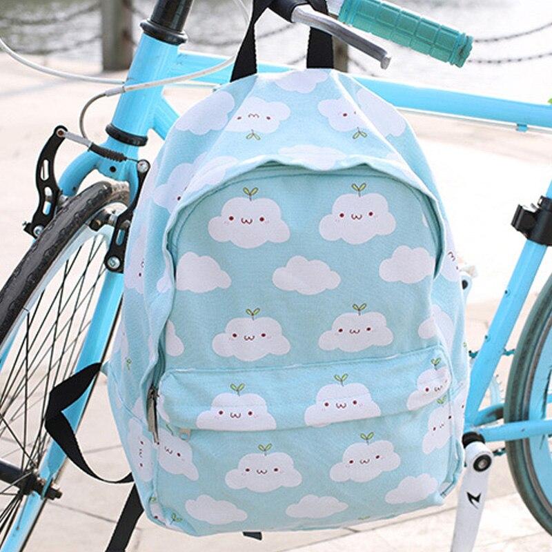 Harajuku Style Women Clouds Backpack Korean New Canvas Kawaii School Backpack Women Bag Cute Clouds Printing Femela Backpack