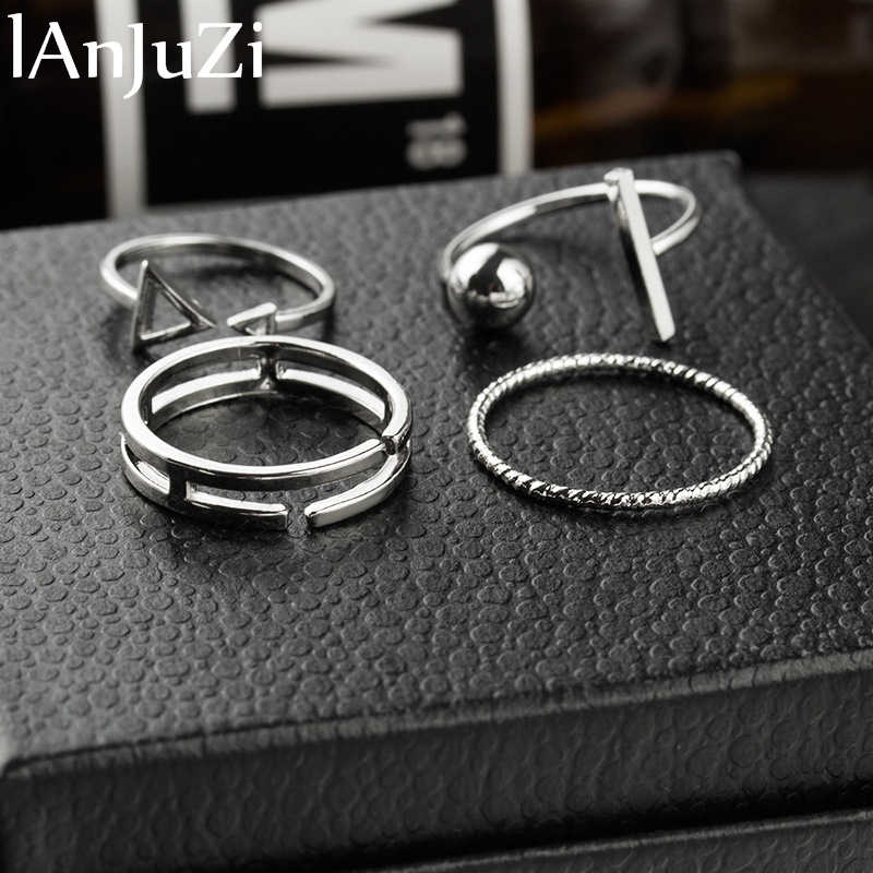 4Pcs/Set Punk Rock Gold Stack Plain Band Midi Mid Finger Knuckle Rings Set for Women Mid Finger Ring Thin Ring Fashion