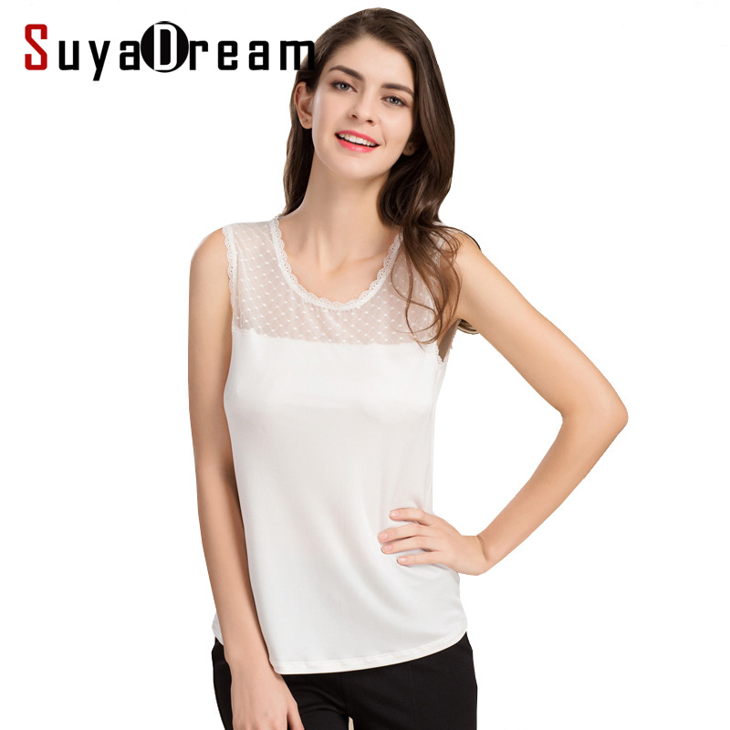 Women Lace Tank Top 100 Real Silk Sleeveless Solid -8325