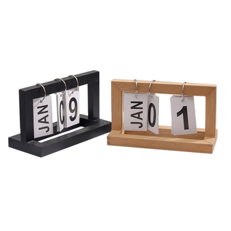 Perpetual Flip Calendar Office Desktop Calendar Desk Calendar Innovative DIY Wooden Paging Decoration Artcraft Blue