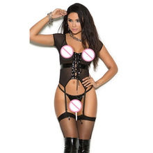 Sexy Black See Through Mesh Transparent Fishnet Lingerie Set Erotic Open Front Strappy Babydolls Hollow Out Lingerie Underwear цена