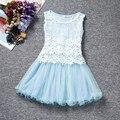 Высокое качество малыша девушек, платья 6 цвета дети принцесса элегантные кружева рукавов лето хлопок детская одежда