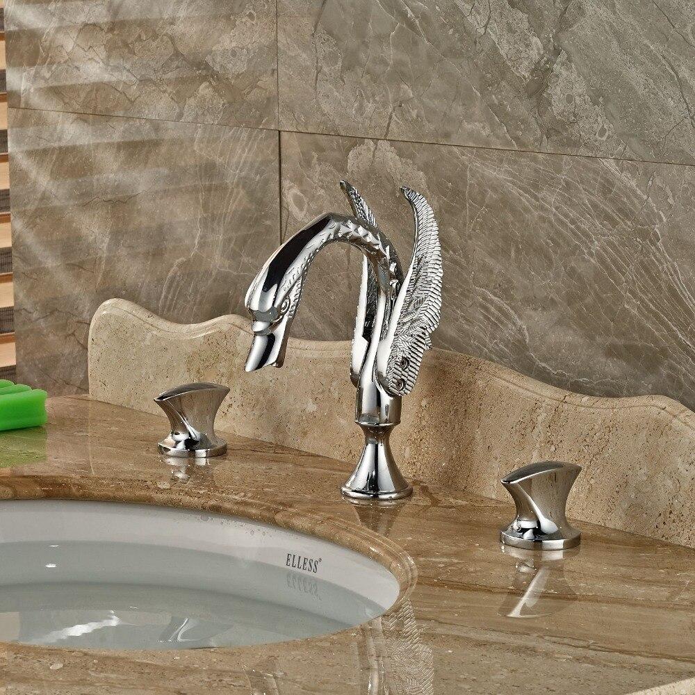 NEW 3 Holes Swan Shape Widespread Bathroom Basin Faucet Vanity Sink Mixer Chrome Brass modern chrome brass bathroom basin faucet 2 handles 3 holes vanity mixer tap