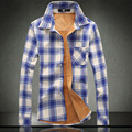 new winter shirts men fashion shirts with velvet fleece plaid shirts high quality plus size 3XL casual shirts men