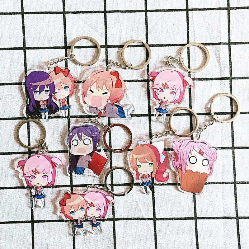 Doki Doki Literature Club Cosplay Props Monika Keychain Natsuki Sayori Yuri Acrylic Key Chain Christmas Halloween Gifts