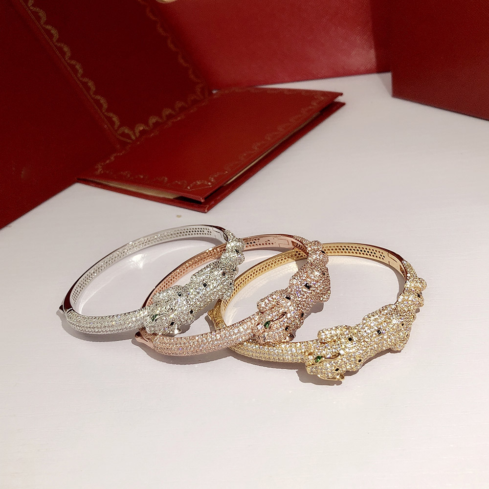 S925 Silver Leopard Bracelet French quality Individual overbearing fashion Lady Bracelet Party ball Vivid and vivid