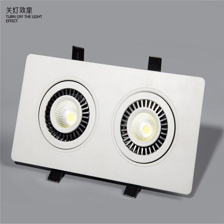 Двойной квадрат 2*10 Вт затемнения светодио дный удара потолочный светильник Холодный белый/теплый белый удара светодио дный вниз свет