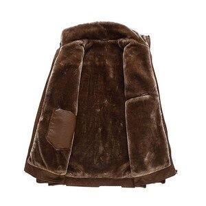 Image 2 - Inverno Caldo di Spessore Uomini Cappotto di pelliccia collare Giubbotti e cappotti marchio di abbigliamento jaqueta masculino inverno della tuta sportiva di cuoio Giubbotti parka