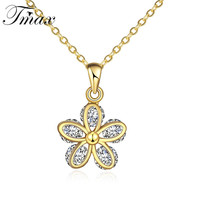 Gold Plated Fiower Design Pendant Necklac Cute Style White AAA CZ Jewelry Accessories For Outstanding Women