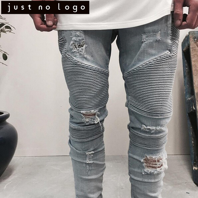 5bc66373474c Men Tapered Stretch Denim Ripped Jeans Destroyed Damaged Biker Slim Fit  Skinny Straight Pants Blue Long Trousers