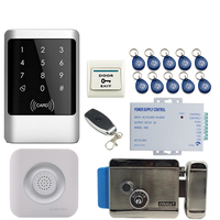 JEX Metal RFID Password Access Controller Touch key Waterproof Door control system kit +Doorbell +12V Electric Lock In stock