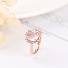 gemstone jewelry factory wholesale 8x10 oval shape 925 sterling silver natural pink crystal ring for women engagement wedding leige jewelry promise ring natural pink quartz ring oval cut pink gemstone 925 sterling silver ring romantic ring for women