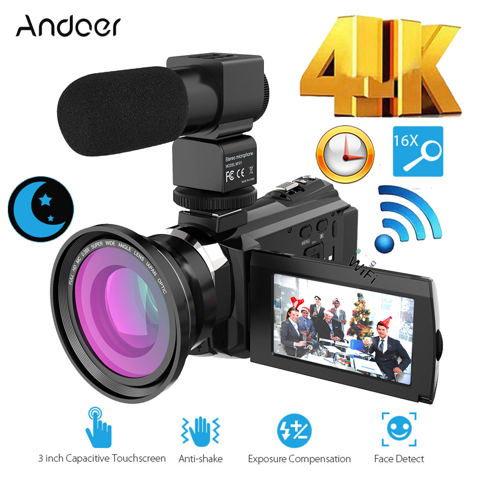 Andoer 4K1080P 48MP Camcorder WiFi Digital Video Camera Recorder Wide Angle Macro Lens External Microphone IR