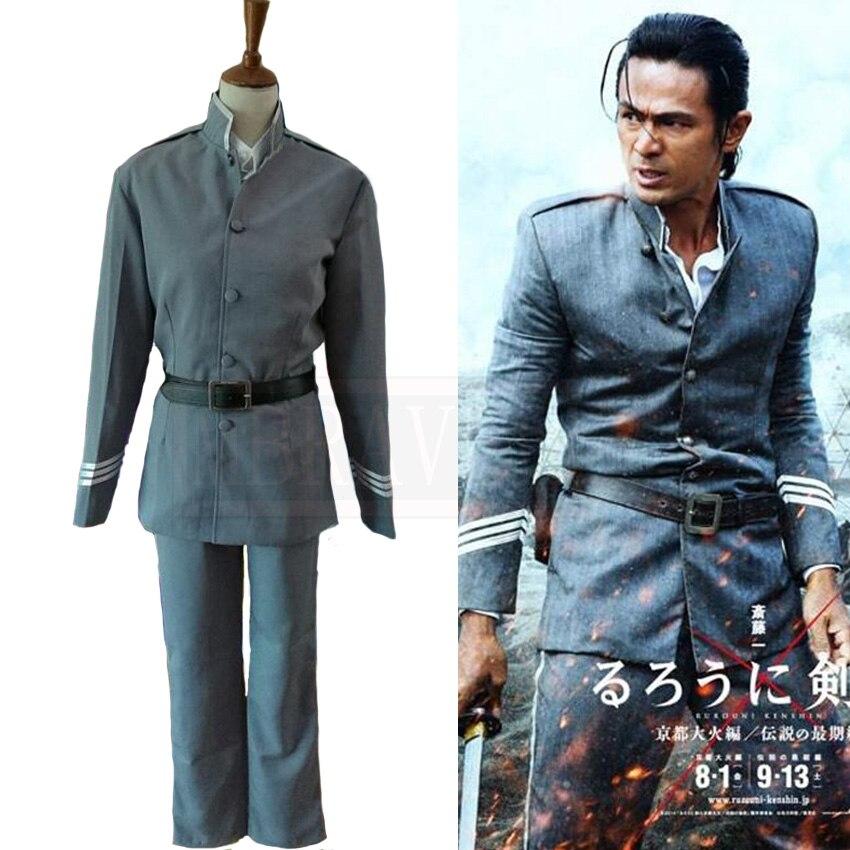 Film Rurouni Kenshin/samouraï X saito Hajime Cosplay Costume Halloween uniforme tenue Cosplay Costume