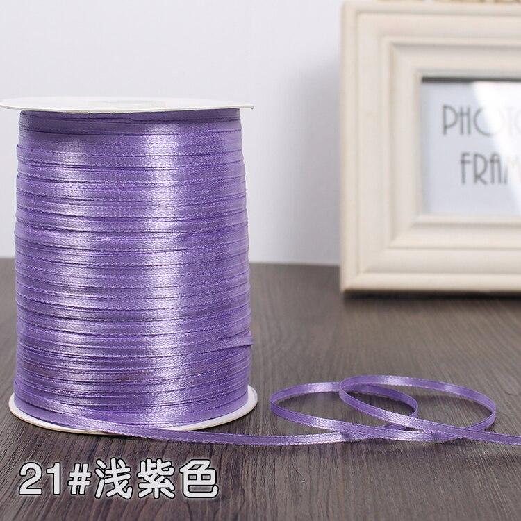 3 мм шелковые атласные ленты Рождество Хэллоуин Детский душ день рождения упаковка для свадебного подарка белый синий розовый зеленый фиолетовый ленты - Цвет: Light Purple