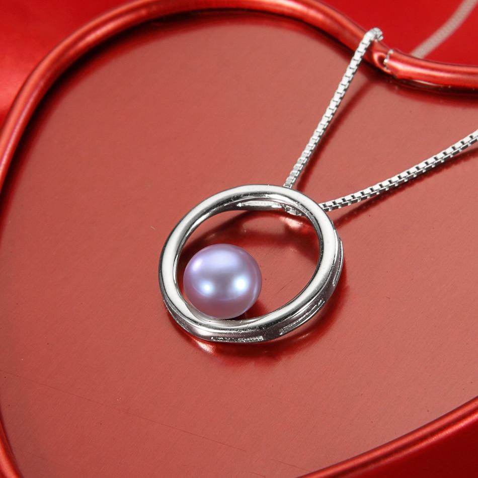 Klassische Einfache Lila Perle Anhänger Halsketten für Dame - Edlen Schmuck - Foto 2