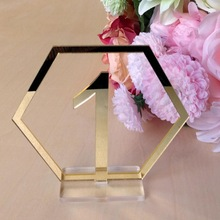 Table Number Signs for Wedding Party Decor,silver or Gold Acrylic Number,Roman Numerals Geometric Centerpiece
