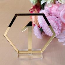 Números de mesa signos para la decoración del banquete de boda, número de acrílico plateado o dorado, números romanos centro de mesa geométrico