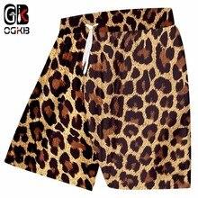 OGKB  Summer Mens Surf Leopard Print 3D Casual Loose Unisex Beach Shorts