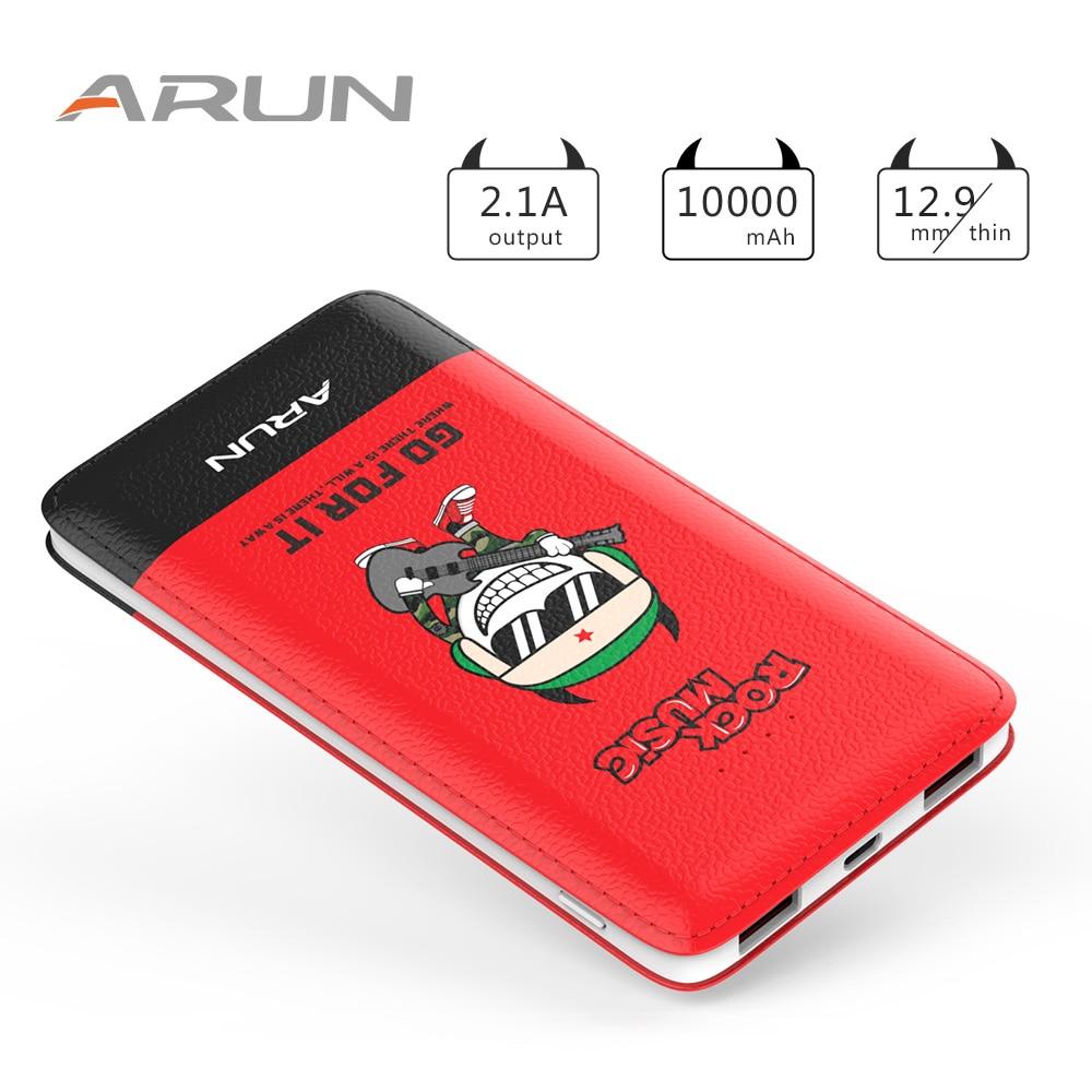 ARUN 10000 mah Energienbank J18-Q Rot Mobilen Ladegerät Dual USB externe Batterie Mit Led-anzeige Für Handys und Tablet PC