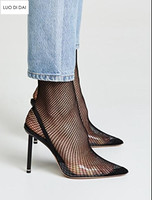 2018 New women PVC high heels thin heel sexy fishnet pumps party shoes black lace point toe pumps dress shoes sock booties