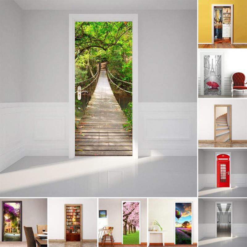 Creative Fridge Door Cover Wall Sticker Fashion nature 3D Wall Stickers Home Decor landscape poster PVC art Decal Wallpaper #E