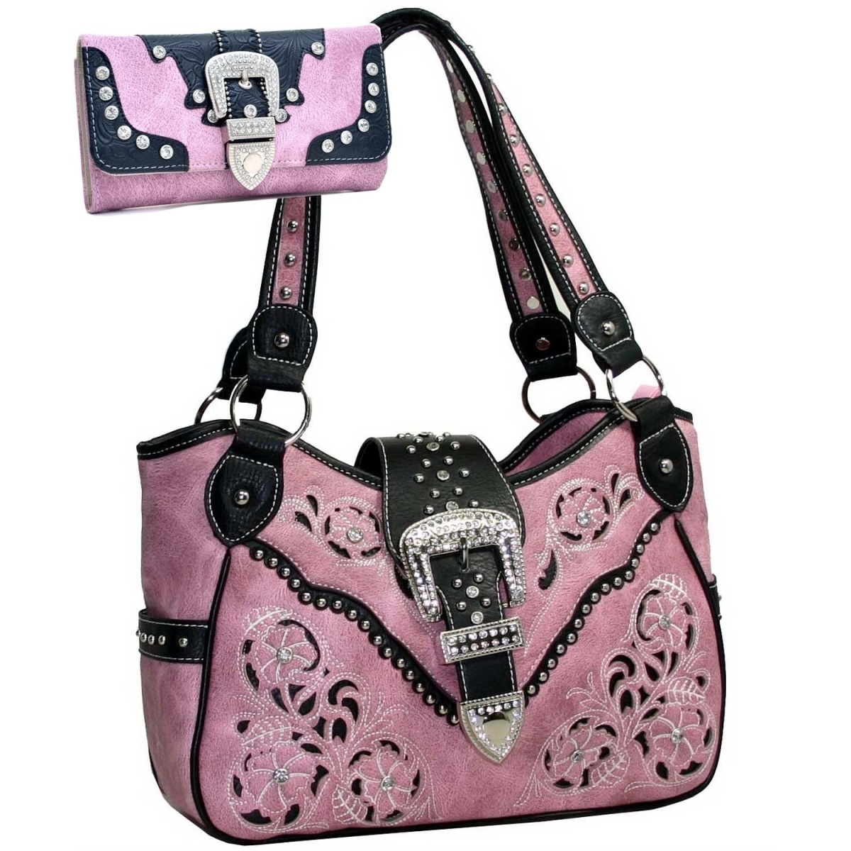 Gold Rush BT155SET-PK Western Faux Leather Belt Buckle Rhinestone Accent Purse Wallet Set - Pink все цены