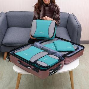 Image 5 - Gonex 9 יח\סט נסיעות אחסון תיק מזוודה ארגונית תליית Ziplock מלתחת בגדי דחיסת אריזה קוביות