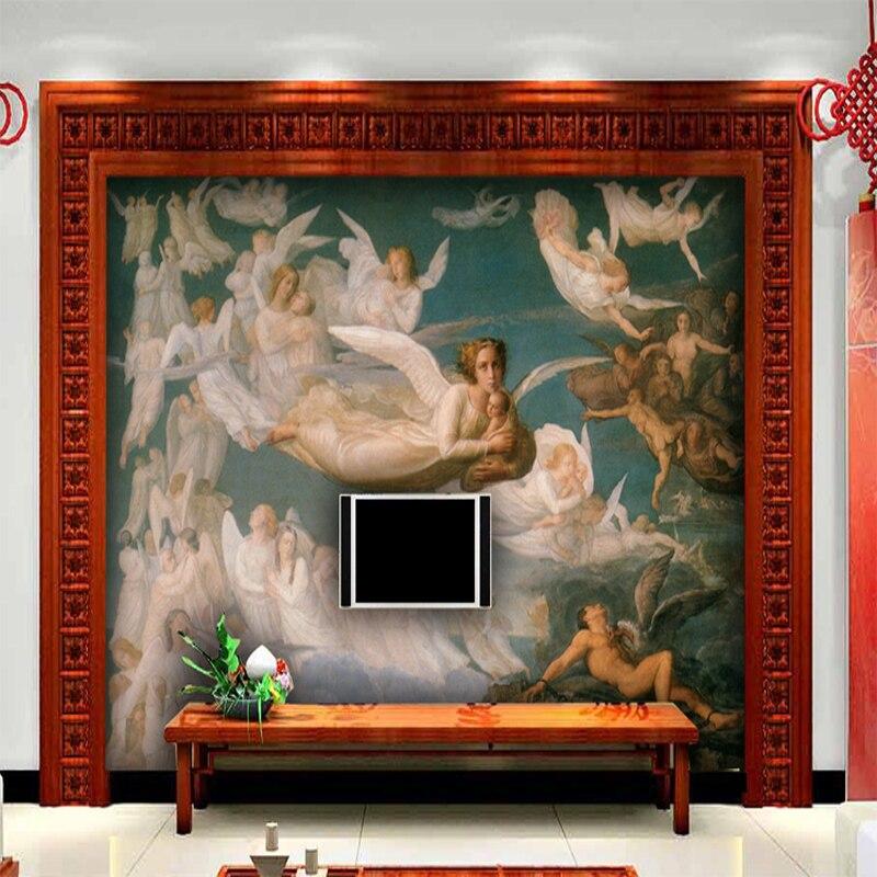 Custom Western European painting of Jesus Genesis 3D wallpaper murals large hotel bedroom TV sofa backdrop