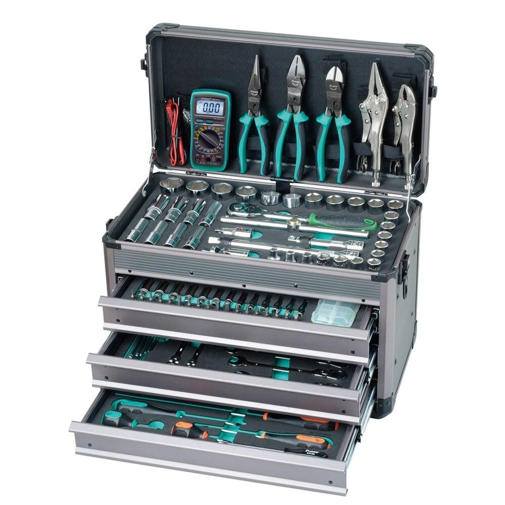 Pro'skit ensemble d'outils à main à manches professionnelles 124 en 1 Kit d'outils pour les amateurs d'entretien automobile et de bricolage électricien professionnel