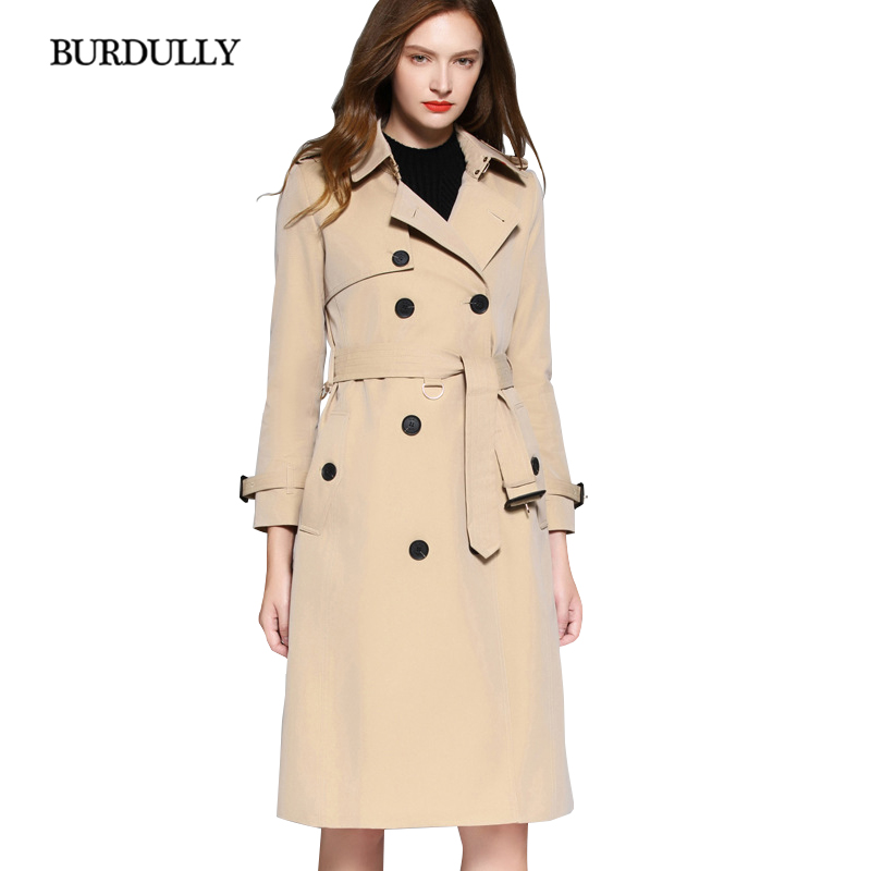 BURDULLY 2019 New Autumn Winter Women Trench Turn-down Collar Cotton Outerwear Coats Long Windbreaker Slim Casual England Style