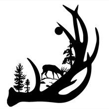 Deer Antler with Buck forest back ground Vinyl Decal Sticker Car Truck Window pegatina hunt forest reindeer decal hunting club buck sticker hollow sticker hunter car window vinyl decal poster motorcycle