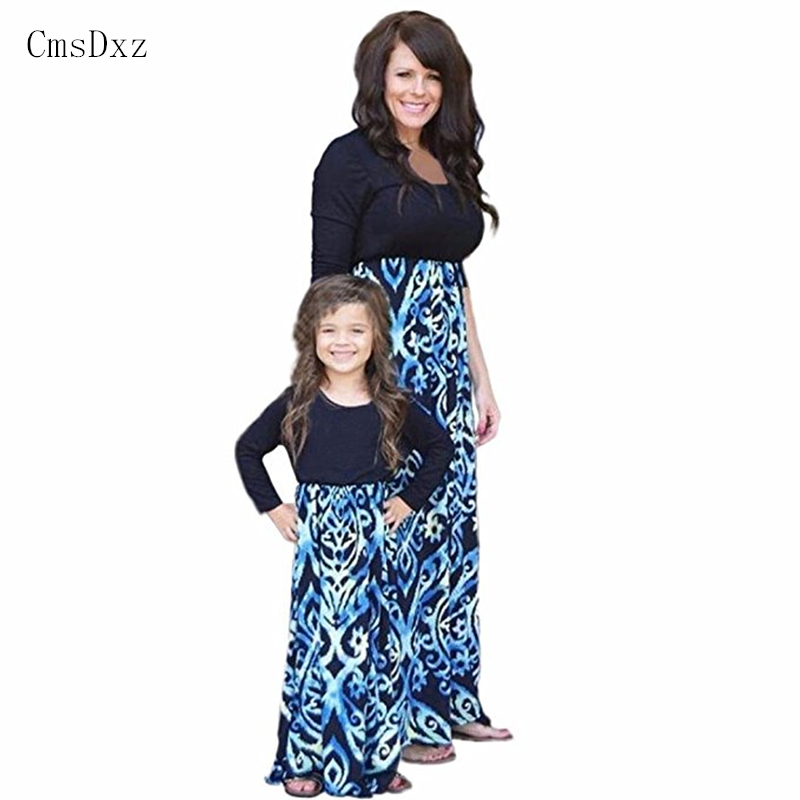 CmsDxz 2017 Mother Daughter Dresses Printing Pattern Mom And Daughter Dress Mother Daughter Matching Clothes Family Look Outfits