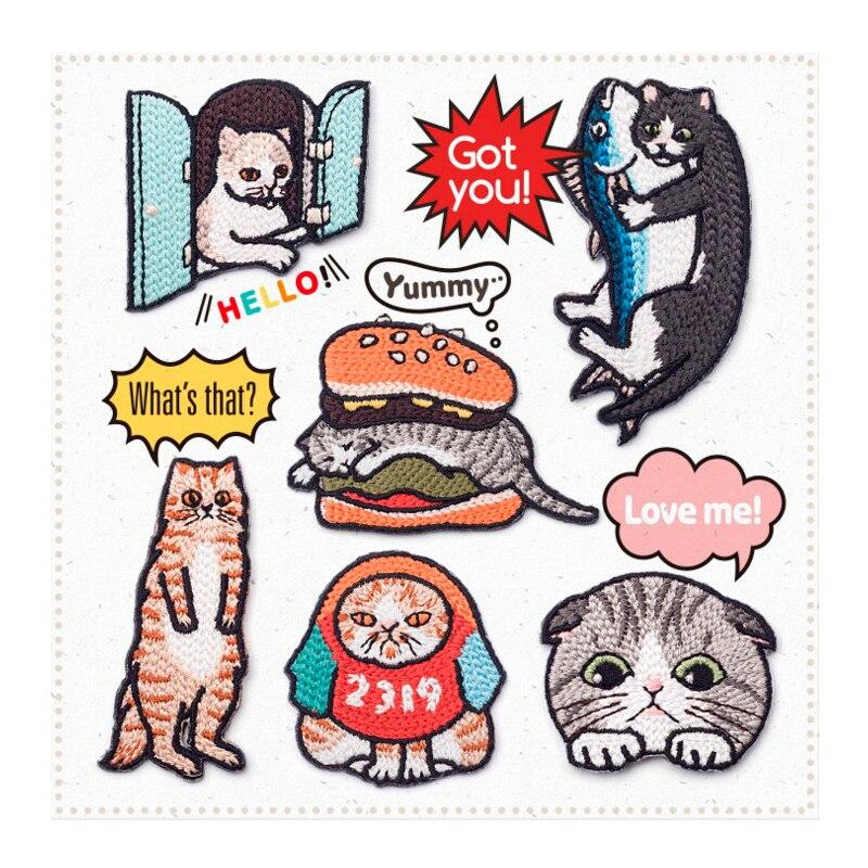 En gros 20 pièces Beau Chat Histoire Patchs Haute quantité Animal Fer sur Patch de Vêtements Décoration Réparation