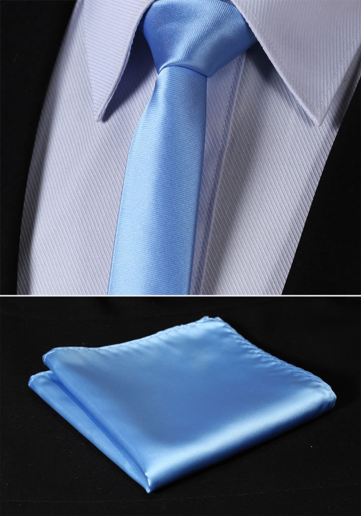 "TL201B5 Pure Sky Blue Solid 2.17"" 100%Silk Woven Slim Skinny Narrow Men Tie Necktie Handkerchief Pocket Square Suit Set"