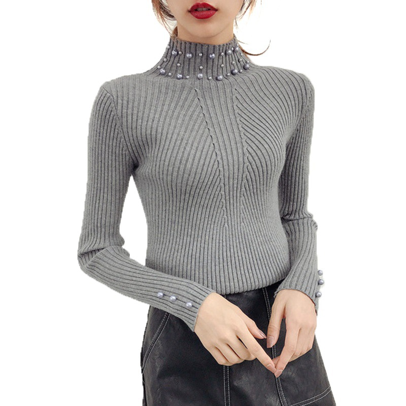 Korean Style High Collar Long Sleeve Slim Pearl Beads