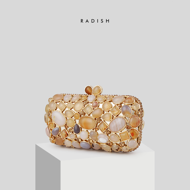 RADISH Female Luxury  European and American Style Carnelian Agate Women Evening Clutches Bag Female WalletsRADISH Female Luxury  European and American Style Carnelian Agate Women Evening Clutches Bag Female Wallets